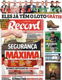 capa Jornal Record de 9 outubro 2021