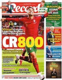 capa Jornal Record de 13 outubro 2021