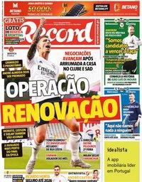 capa Jornal Record de 15 outubro 2021