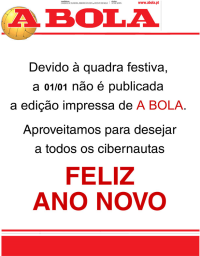 capa Jornal A Bola de 1 janeiro 2018