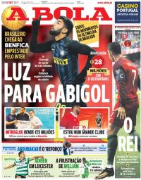 capa Jornal A Bola de 1 setembro 2017