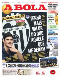 capa Jornal A Bola de 2 janeiro 2018