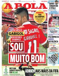 capa Jornal A Bola de 2 setembro 2017