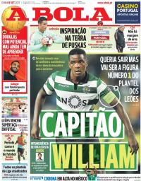 capa Jornal A Bola de 3 setembro 2017