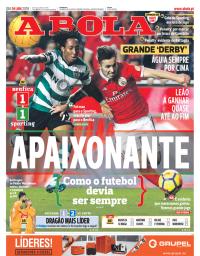 capa Jornal A Bola de 4 janeiro 2018