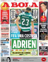 capa Jornal A Bola de 6 setembro 2017