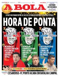 capa Jornal A Bola de 7 janeiro 2018