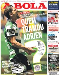 capa Jornal A Bola de 7 setembro 2017