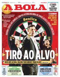 capa Jornal A Bola de 9 janeiro 2018