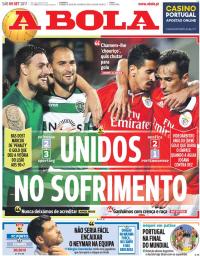 capa Jornal A Bola de 9 setembro 2017