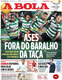 capa Jornal A Bola de 10 janeiro 2018