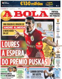 capa Jornal A Bola de 10 setembro 2017