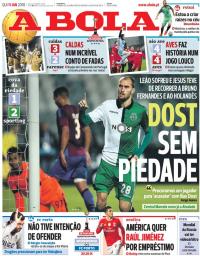 capa Jornal A Bola de 11 janeiro 2018