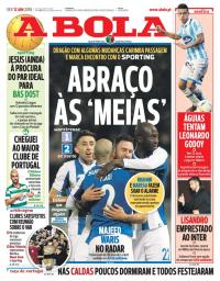 capa Jornal A Bola de 12 janeiro 2018