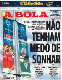 capa Jornal A Bola de 12 setembro 2017