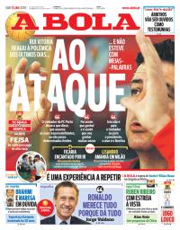 capa Jornal A Bola de 13 janeiro 2018