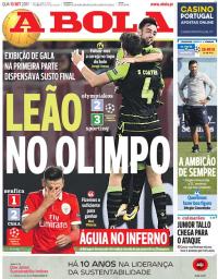 capa Jornal A Bola de 13 setembro 2017