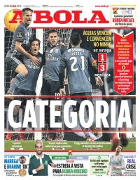 capa Jornal A Bola de 14 janeiro 2018