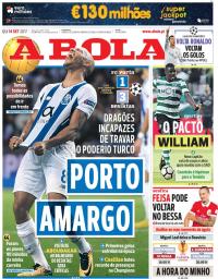 capa Jornal A Bola de 14 setembro 2017