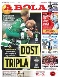 capa Jornal A Bola de 15 janeiro 2018