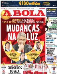 capa Jornal A Bola de 15 setembro 2017