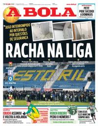 capa Jornal A Bola de 16 janeiro 2018