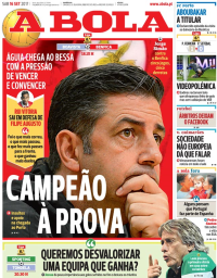 capa Jornal A Bola de 16 setembro 2017