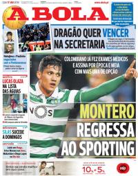 capa Jornal A Bola de 17 janeiro 2018
