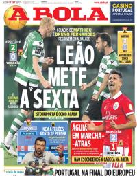 capa Jornal A Bola de 17 setembro 2017