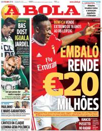 capa Jornal A Bola de 18 janeiro 2018