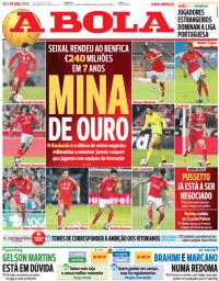 capa Jornal A Bola de 19 janeiro 2018