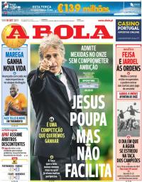 capa Jornal A Bola de 19 setembro 2017