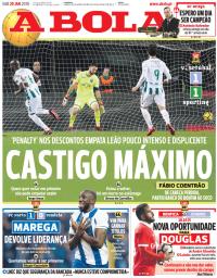 capa Jornal A Bola de 20 janeiro 2018