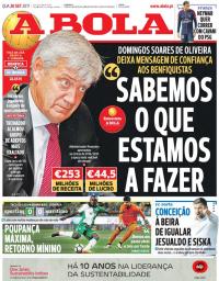 capa Jornal A Bola de 20 setembro 2017