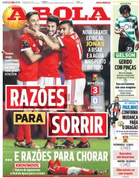 capa Jornal A Bola de 21 janeiro 2018