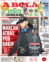capa Jornal A Bola de 22 janeiro 2018