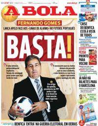 capa Jornal A Bola de 22 setembro 2017