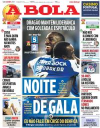 capa Jornal A Bola de 23 setembro 2017