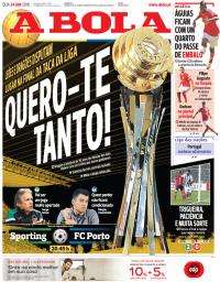 capa Jornal A Bola de 24 janeiro 2018