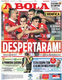 capa Jornal A Bola de 24 setembro 2017