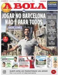 capa Jornal A Bola de 25 setembro 2017