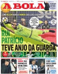 capa Jornal A Bola de 26 janeiro 2018