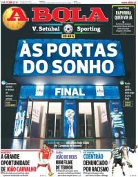capa Jornal A Bola de 27 janeiro 2018