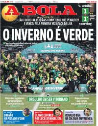 capa Jornal A Bola de 28 janeiro 2018