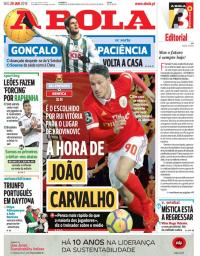 capa Jornal A Bola de 29 janeiro 2018