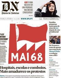 capa Diário de Notícias de 1 maio 2018