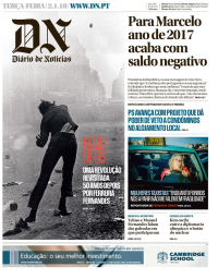 capa Diário de Notícias de 2 janeiro 2018