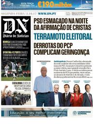 capa Diário de Notícias de 2 outubro 2017