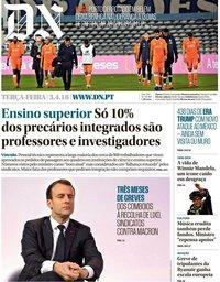 capa Diário de Notícias de 3 abril 2018