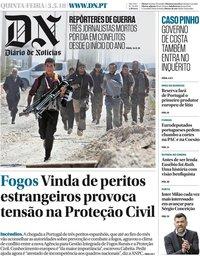 capa Diário de Notícias de 3 maio 2018